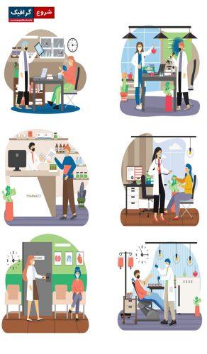 دانلود مجموعه وکتور کاراکترهای کارتونی با مشاغل مختلف – Cartoon Character Set
