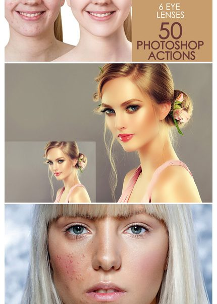دانلود 50 اکشن فتوشاپ روتوش پوست - CreativeMarket 50 Photoshop Actions Retouching Skin