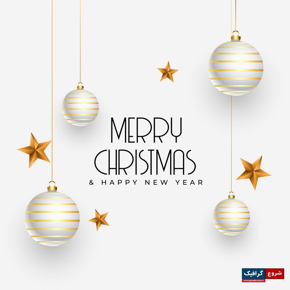 دانلود وکتور ویژه کریسمس با ستاره طلایی در پس زمینه سفید