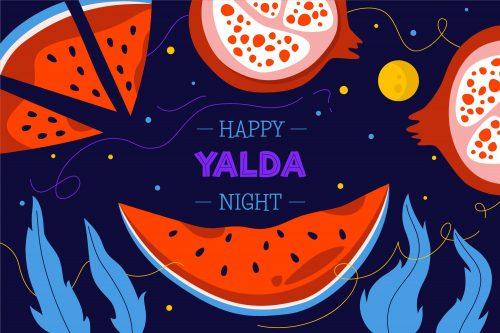 دانلود وکتور ویژه شب یلدا با انار و هندوانه قاچ شده و نقل های رنگی