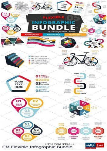 دانلود مجموعه تصاویر وکتور نمودار های اینفوگرافیکی متنوع – CM Flexible Infographic Bundle
