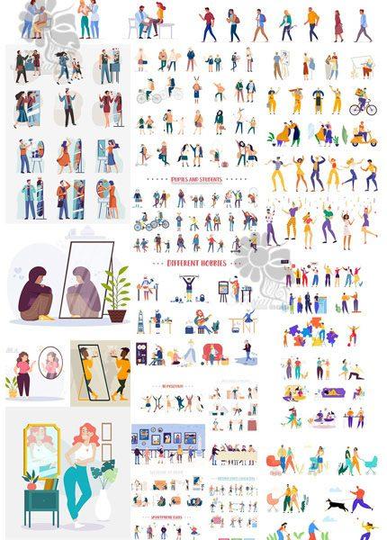 دانلود مجموعه کاراکترهای کارتونی متنوع برای تصویرسازی