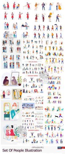 دانلود مجموعه کاراکترهای کارتونی متنوع برای تصویرسازی – Set Of People Illustration