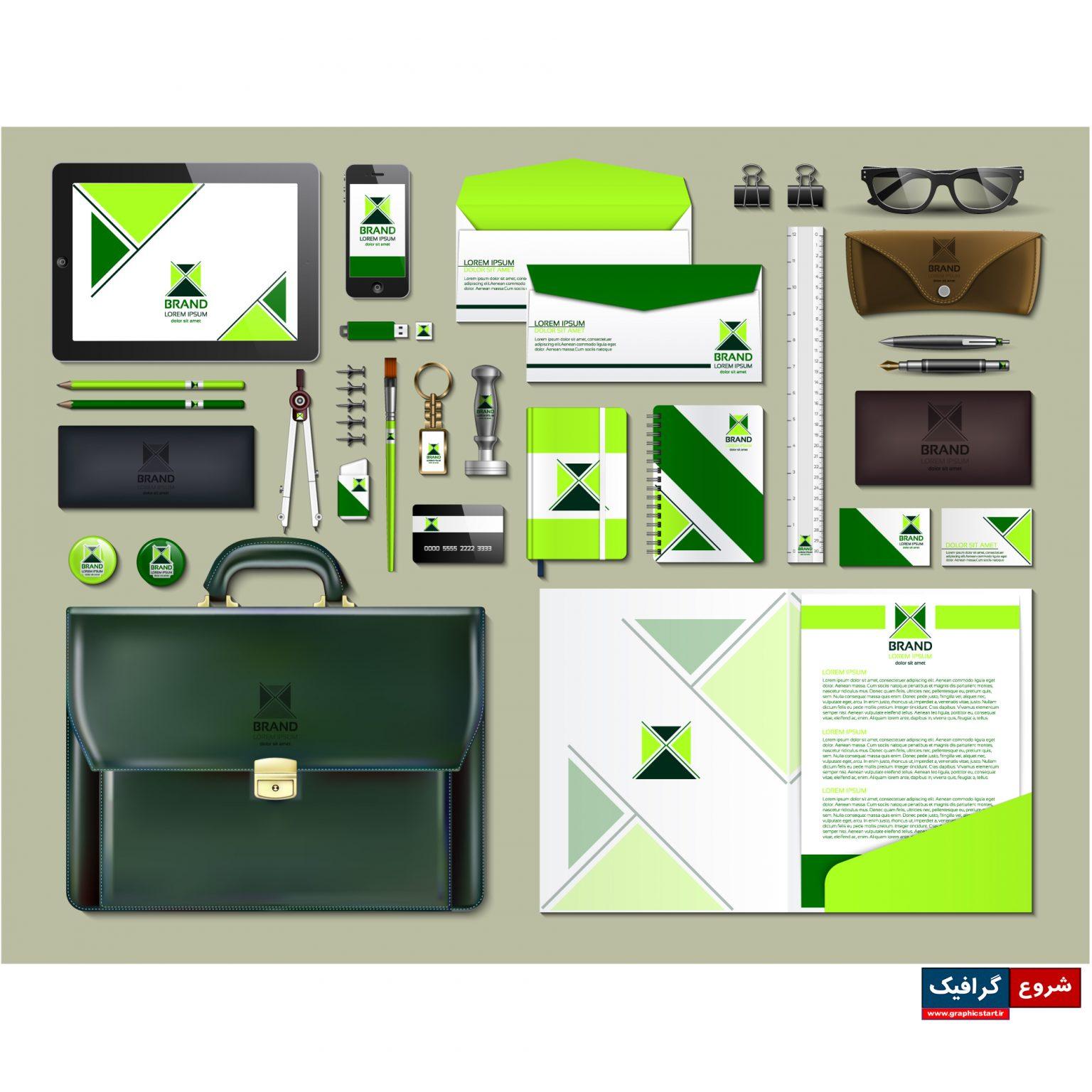 دانلود وکتور پکیج لوازم التحریر تجاری با طرح سبز