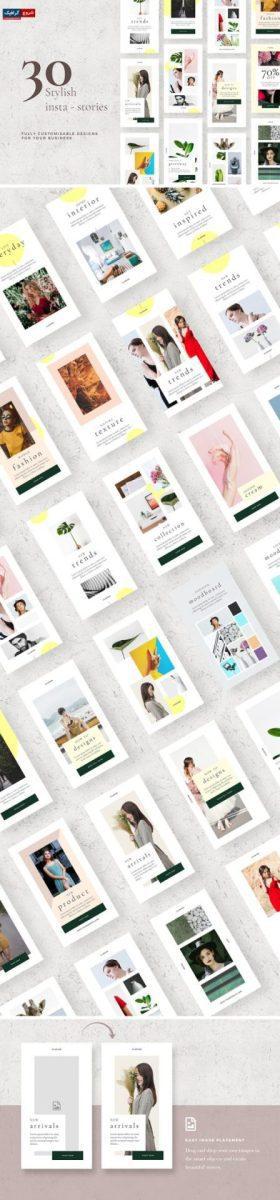 Stylish Instagram Stories Templates ابزاری قدرتمند در شبکه های اجتماعی است که باعث افزایش تعامل و رشد تجارت شما می شود. با این بسته داستان های شیک و تازه ، به حساب اینستاگرام خود کمک زیادی کنید. این بسته شامل 30 طرح منحصر به فرد است. سازگار با فتوشاپ به سادگی تصاویر و متن خود را رها کرده و ذخیره کنید.