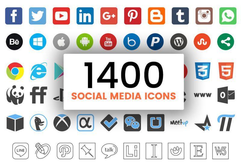 دانلود پکیج 1400 آیکون شبکه های اجتماعی با طرح جذاب (شماره 2)